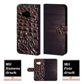 HTC One M9 Holz-croco Optik Handy Tasche Hülle Foto Bild Druck