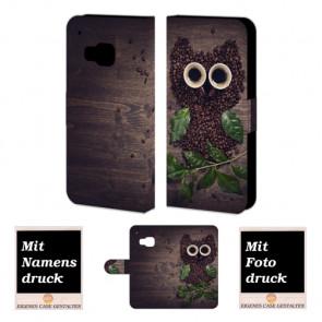 HTC One M9 Kaffee Eule Handy Tasche Hülle Foto Bild Druck