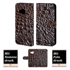 HTC One M9 Krokodil Optik Handy Tasche Hülle Foto Bild Druck