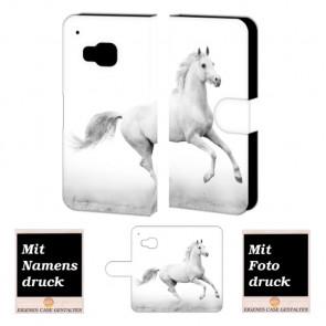 HTC One M9 Pferd Handy Tasche Hülle Foto Bild Druck Text