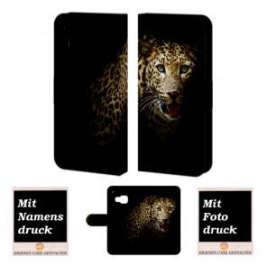 HTC One M9 Handy Tasche Hülle mit Leopard Bild Druck Etui