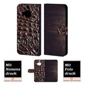 HTC One M9 Plus Holz-croco Optik Handy Tasche Hülle Foto Bild Druck