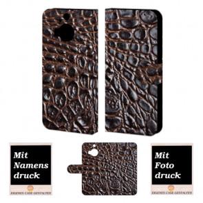 HTC One M9 Plus Krokodil Optik Handy Tasche Hülle Foto Bild Druck