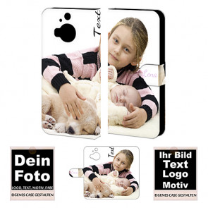 Ledertasche Handy Hülle für HTC M9 Plus mit Foto Text Druck
