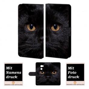 HTC One X10 Individuelle Handyhülle mit Fotodruck Schwarz Katze