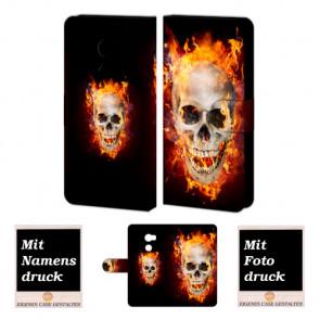 HTC One X10 Handyhülle Tasche mit Foto Druck Totenschädel - Feuer