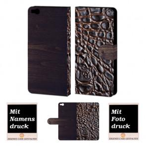 HTC One X9 Croco-Holz Optik Handy Tasche Hülle Foto Bild Druck