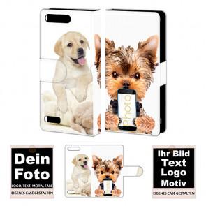 Ledertasche für Huawei G6 mit Foto und Text zum selbst gestalten