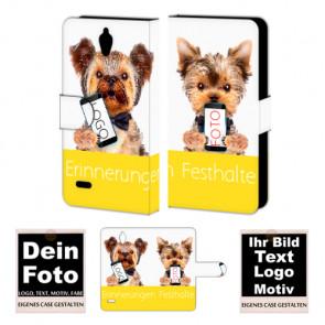 Ledertasche für Huawei G700 mit Foto und Text zum selbst gestalten