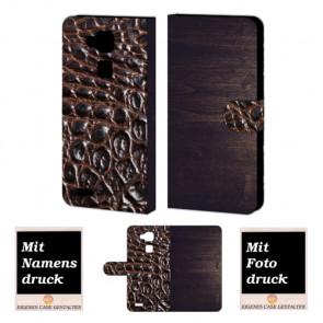 Huawei Mate 7 Holz - Croco Optik Handy Tasche Hülle Foto Bild Druck