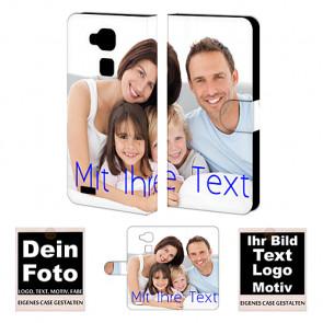 Sidflip Tasche Handyhülle für Huawei Mate 7 mit Bild Text Druck