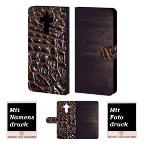 Huawei Mate 9 Holz - Croco Optik Handy Tasche Hülle Foto Bild Druck