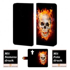 Huawei Mate 9 Handyhülle mit Totenschädel - Feuer Fotodruck