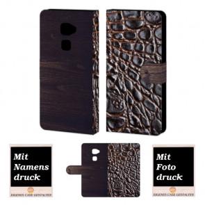 Huawei Mate S croco - Holz Optik Handy Tasche Hülle Foto Bild Druck