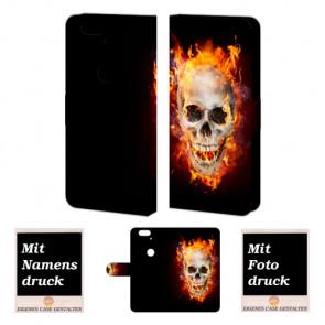 Huawei Nexus 6P Handy Hülle mit Totenschädel - Feuer Fotodruck