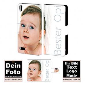 Personalisierte Handyhülle für Huawei P6 mit Foto und Text Druck