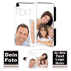 Ledertasche für Huawei P8 mit Foto und Text zum selbst gestalten