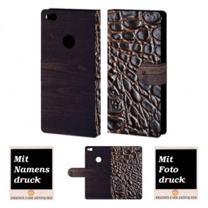 Huawei P8 Lite 2017 croco - Holz Optik Handy Tasche Hülle Foto Bild Druck
