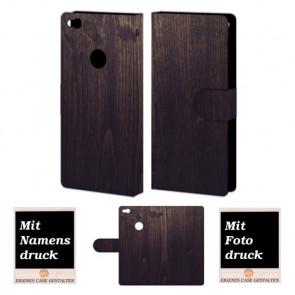 Huawei P8 Lite 2017 Schutzhülle Handy Tasche mit Holz Optik Bild Druck