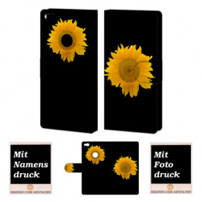 Huawei P8 Lite 2017 Handy Tasche Hülle mit Bild Druck Sonnenblumen