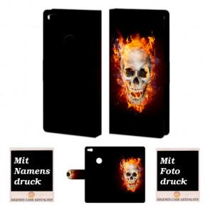 Huawei P8 Lite 2017 Handy Hülle mit Totenschädel - Feuer Bilddruck
