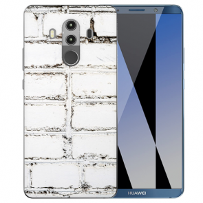 Huawei Mate 10 Pro Silikon TPU Hülle mit Weiße Mauer Fotodruck Etui