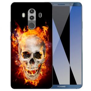 Huawei Mate 10 Pro Silikon TPU Hülle mit Bilddruck Totenschädel Feuer
