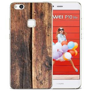 TPU Silikon Hülle mit Bilddruck HolzOptik für Huawei P10 Lite Etui