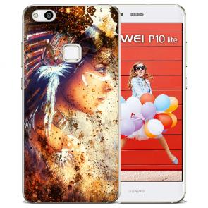 Huawei P10 Lite TPU Silikon Hülle mit Bilddruck Indianerin Porträt