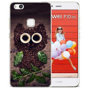 Huawei P10 Lite TPU Silikon Schutzhülle mit Bilddruck Kaffee Eule