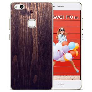 Huawei P10 Lite TPU Silikon Hülle mit Bilddruck HolzOptik Dunkelbraun