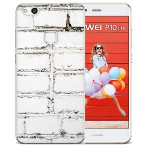 Huawei P10 Lite TPU Silikon Handy Hülle mit Bilddruck Weiße Mauer
