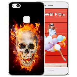 Huawei P10 Lite TPU Silikon Hülle mit Bilddruck Totenschädel Feuer