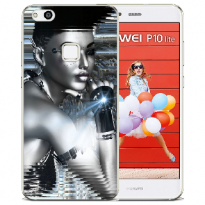 Huawei P10 Lite TPU Silikon Handy Hülle mit Bilddruck Robot Girl