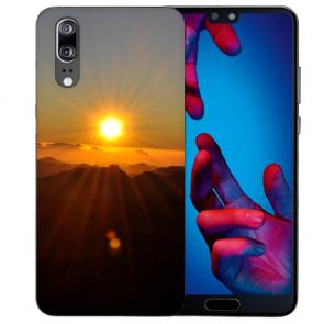 Huawei P20 Handy Hülle Silikon TPU mit Sonnenaufgang Fotodruck