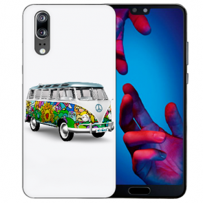 Huawei P20 Handy Hülle Silikon TPU mit Hippie Bus Fotodruck