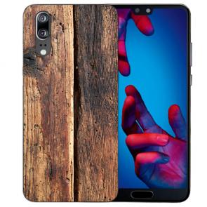 Huawei P20 Handy Hülle Silikon TPU mit HolzOptik Fotodruck