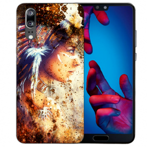Huawei P20 Handy Hülle Silikon TPU mit Fotodruck Indianerin Porträt