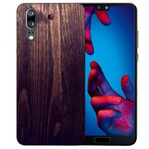 Huawei P20 Silikon TPU Hülle mit HolzOptik Dunkelbraun Fotodruck