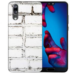 Huawei P20 Schutzhülle Silikon TPU Hülle mit Fotodruck Weiße Mauer