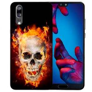 Huawei P20 Handy Hülle Silikon TPU mit Fotodruck Totenschädel Feuer