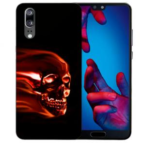 Huawei P20 Handy Hülle Silikon TPU mit Fotodruck Totenschädel