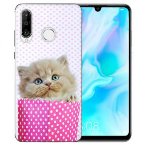 Huawei P30 Lite New Edition Silikon TPU Hülle mit Bilddruck Kätzchen Baby Case
