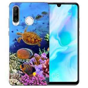 Huawei P30 Lite New Edition Silikon TPU Hülle mit Bilddruck Aquarium Schildkröten