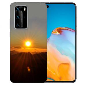 Silikon TPU Hülle für Huawei P40 Pro mit Fotodruck Sonnenaufgang