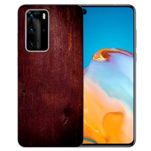 individuelle Schutzhülle mit Foto Bild für Huawei P Smart 2021 mit HolzOptik Dunkelbraun
