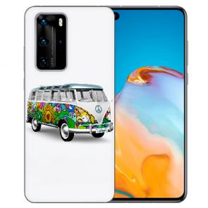 Silikon TPU Hülle für Huawei P40 mit Bilddruck Hippie Bus Etui