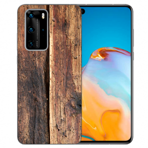 Silikon TPU Handy Hülle mit Bilddruck HolzOptik für Huawei P40 Etui