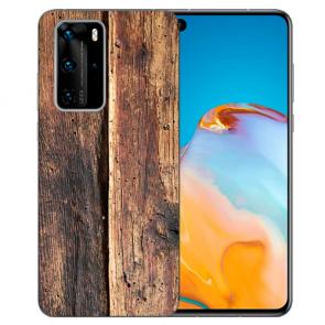 Silikon TPU Hülle mit Fotodruck HolzOptik für Huawei P40 Pro
