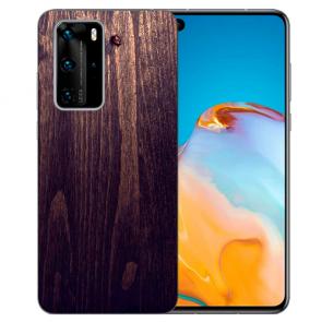Huawei P40 Silikon TPU Handy Hülle mit Bilddruck HolzOptik Dunkelbraun